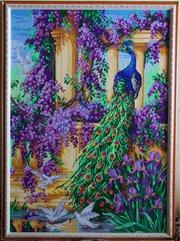 Вышитая картина в рамке «Павлин» 50х71 см